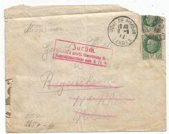 N°518X2 LETTRE DÉFECTUEUSE  MONT DE MARSAN LANDES 1942 POUR HAUT RHIN CENSURE NAZI + ZURUCK - Marcophilie (Lettres)
