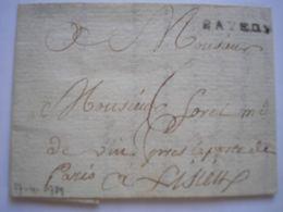 CALVADOS - Marque BAYEUX Sur LAC Du 27/04/1789 Pour Lisieux Avec Taxe Manuscrite 6 -2 Photos - Marcophilie (Lettres)