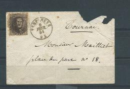 N°14 OBLITERE P169 TEMPLEUVE SUR DEVANT DE LETTRE - 1863-1864 Medaglioni (13/16)