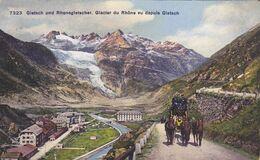 311/ Gletsch Und Rhonegletscher, Glacier Du Rhone Vu Depuis Gletsch, Postkoets 1921 - VS Wallis