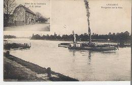 CHALAMPE. CP Navigation Sur Le Rhin Bateau à Vapeur Vignette Hôtel De La Couronne P.E. Lucas - Chalampé