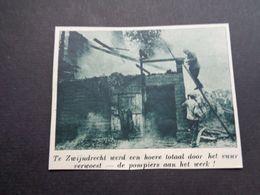"""Origineel Knipsel ( 5930 ) Uit Tijdschrift """" De Stad """"  1937 : Brand  Pompiers  Pompier  Zwijndrecht - Alte Papiere"""