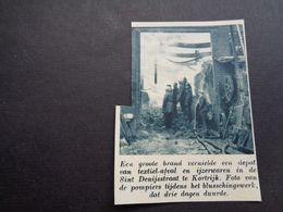 """Origineel Knipsel ( 5932 ) Uit Tijdschrift """" De Stad """"  1937 :  Brand  Pompiers  Pompier  Kortrijk - Alte Papiere"""