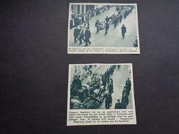 """Origineel Knipsel ( 5935 ) Uit Tijdschrift """" De Stad """"  1937 :  Begrafenis Pompier Reyckaert  Grand Bazar Antwerpen - Alte Papiere"""