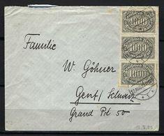 ALLEMAGNE 1923: LSC De  Tübingen Pour La Suisse, Affr. De 3'000 Mk. Avec Obl. CAD Du 12.8.23 - Cartas