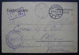 1915, Camp De Giessen, Carte De Prisonnier De Guerre, Divers Cachets Pour Mme Balladier Boulangerie à Cosne Sur L'oeil - Marcofilie (Brieven)