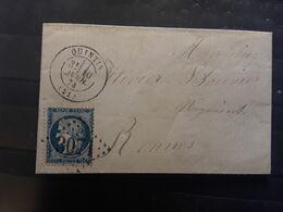 Lettre De QUINTIN Cotes Du Nord D'Armor, GC 3071 / CERES No 60 B VARIETE ENCOCHE > RENNES, 10 Avril 1874, TTB - 1849-1876: Periodo Clásico