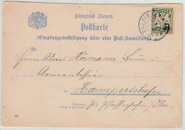 Bayern - Eglfing B. München 1910, K2 A. Empfangsbestätigung F. Postanweisung N. - Germany