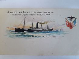 Carte Postale American Line US Mail Steamer, SS Haverford, Liverpool, Queenstown, Philadelphia - Steamers