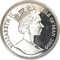Monnaie, Isle Of Man, Crown, 2000, Pobjoy Mint, Millénaire - Station Spatiale - Monnaies Régionales