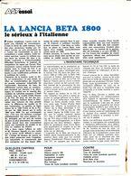 Feuillet De Magazine Lancia Beta 1800 1973 - Cars