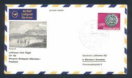 YUGOSLAVIA - First Flight Beograd-Budapest-Munchen-Frankfurt, Illustrated Printed Matter With Commemorative Cancel. - 1945-1992 République Fédérative Populaire De Yougoslavie