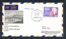 YUGOSLAVIA - First Flight Frankfurt-Munchen-Budapest-Belgrad 1967, Illustrated Printed Matter With Commemorative Cancel. - 1945-1992 République Fédérative Populaire De Yougoslavie