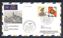 YUGOSLAVIA - First Flight Frankfurt-Munchen-Zagreb-Bukarest 1967, Illustrated Printed Matter With Commemorative Cancel. - 1945-1992 République Fédérative Populaire De Yougoslavie
