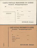 Guerre 39 45 2 Cartes Postales Pour Prisonnier De Guerre En Allemagne Kriegsgefangenenpost Neuves - Marcophilie (Lettres)