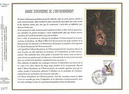 2 FEUILLES ARTISTIQUES (AVEC SOIE)  TP N° 2244/46  CP FDC DE NAMUR-BRUXELLES-BRUSSEL  DES EDITIONS...(VOIR LES 4 SCANS) - 1981-90