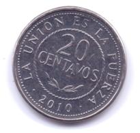 BOLIVIA 2010: 20 Centavos, KM 215 - Bolivia