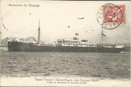 """000803 - SOUVENIR DE VOYAGE - VAPEUR FRANCAIS """"AMIRAL MAGON"""" DES CHARGEURS REUNIS - 1909 - Piroscafi"""