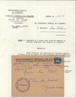 Enveloppe Gouvernement Général Algérie Cachet Cabinet Gouverneur Général YT 290 Alger RP 30 4 52  Service Douanes - Algeria (1924-1962)
