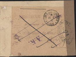 Guerre 39 Censure Bande + Cachet Ouvert Autorité Contrôle COA Corse + CAD Poste Aux Armées 504 Puis Annulé Réexpédition - Marcophilie (Lettres)