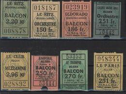 Collection Tickets Lieu De Fête Algérie Maison Carrée Balcon Ritz Eldorado Casino Music Hall Orchestre Le Club Paris - Eintrittskarten