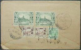 Burma - Registered Cover To India 1951 Elephant Architecture Sivaganga - Myanmar (Burma 1948-...)
