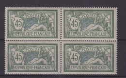 FRANCE : N° 143 ** . LUXE . TYPE MERSON .BLOC DE 4 .  SIGNE SCHELLER . 1907 . ( CATALOGUE YVERT ) . - 1900-27 Merson