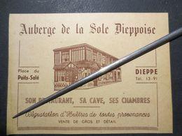 """76 - Dieppe - Ancienne Carte Publicitaire """" Auberge De La Sole Dieppoise """" Henry & Cie - Place Du Puits - Salé -  B.E - Tarjetas De Visita"""