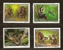Rwanda Ruanda 1988 Yvert 1259-1262 OBCn° 1324-27 *** MNH  Cote 14,00 Euro Faune Singes Apen - Rwanda