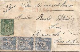 Neulise (Loire). Lettre Chargée, Affranchie à 80 Centimes,descriptif Au Dos.Sage. - 1877-1920: Periodo Semi Moderno