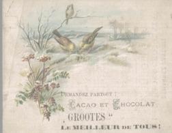 CHROMO  CHOCOLATS GROOTES  OISEAUX PICORANT DANS LA NEIGE - Chocolade