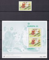 Europa-CEPT - Portugal - Madeira - 1981 - Michel Nr. 70 + Block 2 - Postfrisch - Europa-CEPT