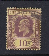 Straits Settlements: 1904/10   Edward    SG132    10c   Purple & Black/yellow   Used - Straits Settlements