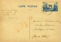 Carte Postale COM T2 80c Arc De Triomphe Bleu Défilé De La Victoire SAINT PERN ILE ET VILAINE 30/8/40 Pour Boulogne/Mer - Ganzsachen