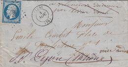 FRANCE - LETTRE CLASSIQUE CLUNY SAONE ET LOIRE POUR LYON  - GC 894 - 9 CACHETS AU DOS  / 2 - 1849-1876: Klassik