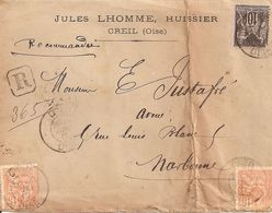 Creil (Oise). Lettre Recommandé Affranchie Sage + Mouchon.26 Juillet 1901. - Poststempel (Briefe)