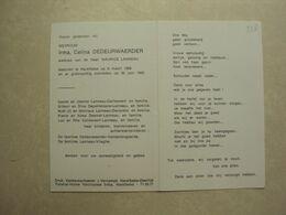 BP 338 - DEDEURWAERDER IRMA - HARELBEKE 08.03.1908 - HARELBEKE 30.06.1993 - ZIE 2 FOTO'S - Santini