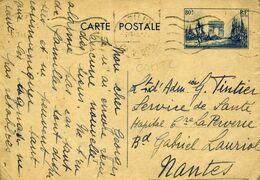 Carte Postale COM T2 80c Arc De Triomphe Bleu Défilé De La Victoire LISIEUX CALVADOS 6/7/40 Pour Nantes - Ganzsachen