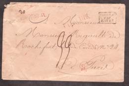 """LSC - Mai 1823 - Liège Pour Paris - Entrée """"Pays-Bas Par Givet"""" - Griffes """"LPB2R + Luyk"""" Rouge - Port Dû 33 Décimes - 1801-1848: Vorläufer XIX"""