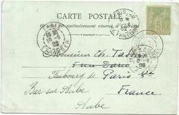 SAGE 5C  VERT JAUNE TYPE A JERUSALEM 31.MAI 1902 PALESTINE CARTE JEUNE FILLE DE SILOE - Poststempel (Briefe)