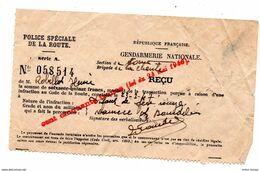 Gendarmerie La Charité Sur Loire 1947 Reçu Contravention - Colecciones