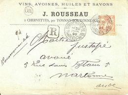 Tonnay Boutonne (Charente Inférieur). Lettre Recommandée. 40 Centimes Type Sage. Avec Or = Chervettes - Poststempel (Briefe)