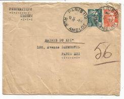 GANDON 10FR ORANGE +2FR VERT PNEUMATIQUE PARIS 112 1.IV 1946 RUE AMELOT - Poststempel (Briefe)