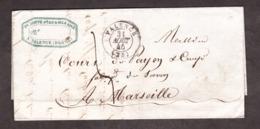 LAC - 31 Août 1845 - Valence Pour Marseille - Port Dû 5 Décimes - 1801-1848: Vorläufer XIX