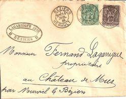 Beziers (Hérault). Cachet Type A1 Sur Sage. 24 Juillet 1885. - Poststempel (Briefe)