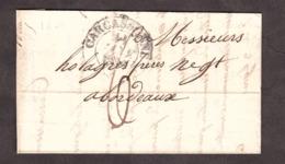 LAC - Janvier 1838 - T13 Carcassonne Pour Bordeaux (verso T12) - Port Dû 6 Décimes - 1801-1848: Vorläufer XIX