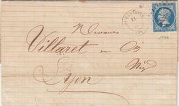 FRANCE - LETTRE CLASSIQUE LA CLAYETTE SAONE ET LOIRE POUR LYON  - GC 1044 / 2 - 1849-1876: Klassik