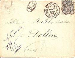 Saint Calais ( Sarthe). Cachet A2 Du 20 Juillet 1887 Sur Sage. Griffe BM. - 1877-1920: Periodo Semi Moderno