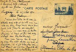 Carte Postale COM T2 80c Arc De Triomphe Bleu Défilé De La Victoire LUSIGNAN Pour TREMEVEN Côtes Du Nord 16/07/40 PLI - Ganzsachen