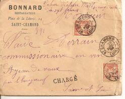 Saint Chamond (Loire). Lettre Chargée Du 22 Avril 1898. Griffe Des Chargements 3540 Au Dos. - Poststempel (Briefe)